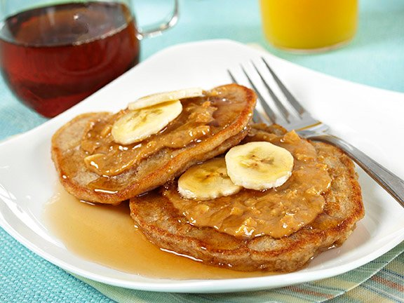 Oatmeal Peanut Butter Banana Pancakes with Maple Syrup