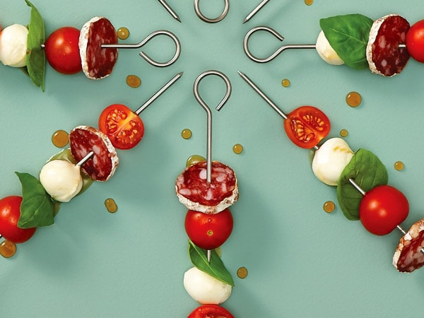 Maple Glazed Tomatoes, Bocconcini and Dry Sausage Mini Skewers