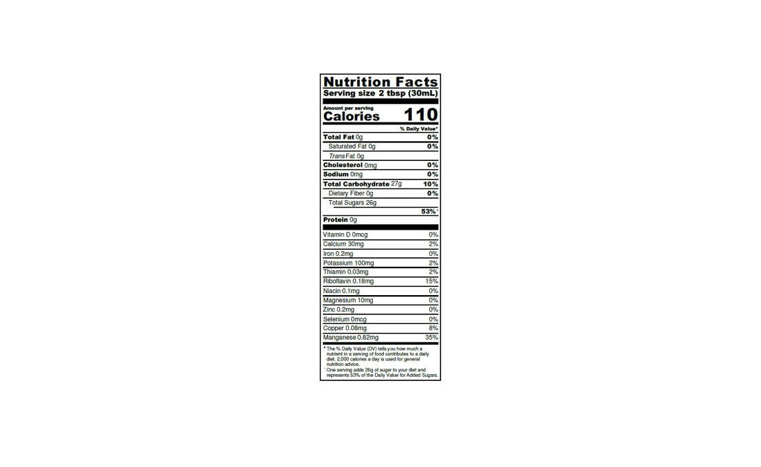 Nutrition Label for Pure Maple Syrup from Canada