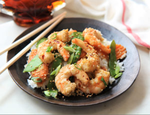 Maple Ginger Shrimp with Carrots and Snow Peas