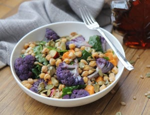 Maple Harvest Bowl with Farro and Roasted Chickpeas