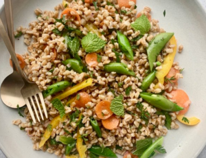 Farro Salad with Real Maple Syrup Vinaigrette, Carrots, Snap Peas, Sweet Peppers, and Mint