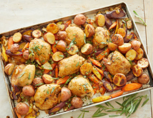 Sheet Pan Maple Mustard Chicken Thighs with Potatoes and Carrots