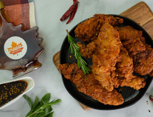 Fried Turkey with Chili Maple Sauce