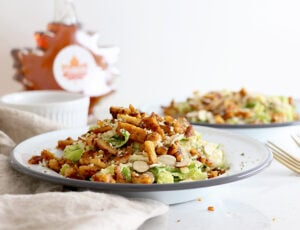 "Maple Tempeh ""Bacon"" Brussels Sprouts Salad"